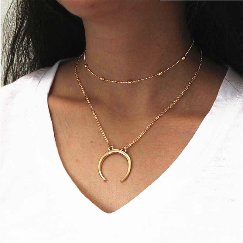 Лидер продаж Модные DIY богемные стиль двухслойные бусины металл серебристого цвета Луна Рог кулон колье ожерелье для женщин ювелирные изделия