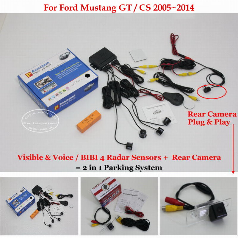 For Ford Mustang GT / CS 2005~2014 - Car Parking Sensors + Rear View Back Up Camera = 2 in 1 Visual / BIBI Alarm Parking System комбо для гитары fender mustang gt 200