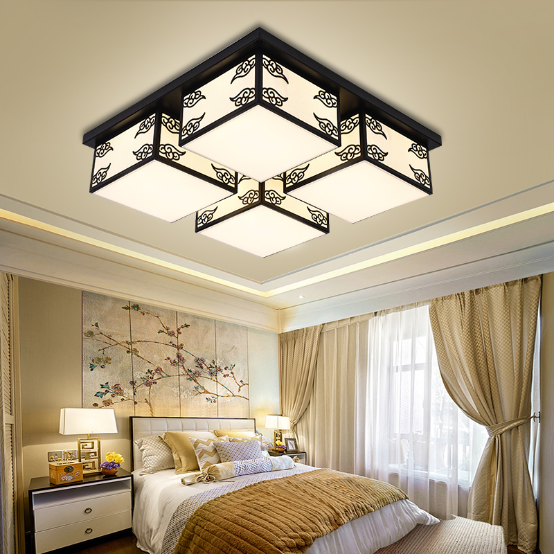 Chinese style ceiling lamp dining room lamp living room bedroom study modern 4/6/9 heads ceiling light cloth Square lamp ZA81045