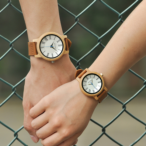 BOBO BIRD Q15 Classic Leather Wood Watch Couples Quartz watches for Lovers reloj pareja hombre y mujer Multan