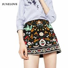 JuneLove 2017 Fashion Bohemian Skirt Women Embroidery High Waist Skirt Female Casual Bottom Skirt Ladies