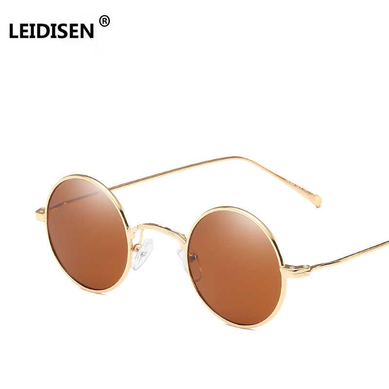 89ff1cb0d08 ... LEIDISEN Retro Small Round Sunglasses Men Pink Brown Yellow Lens Metal  Frame Fashion Sun Glasses For ...