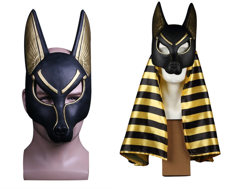 Unisex Egyptian Anubis Mask  Halloween Cosplay PVC Mask Wolf Masquerade Props Helmet party toy