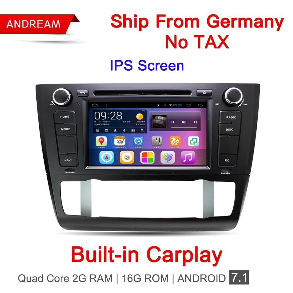 Quad Core 2g/16g Voiture Lecteur DVD Stéréo Android 7.1 Navigation Pour BMW E81 E82 E87 BT commande au Volant Builtin Carplay