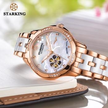 STARKING 34mm Automatic Watch Rose Gold Steel Case Vogue Dress Watches Skeleton Transparent Watch Women Mechanical Wristwatches 5