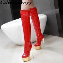 Пикантные женские ботинки из лакированной кожи на очень высоком