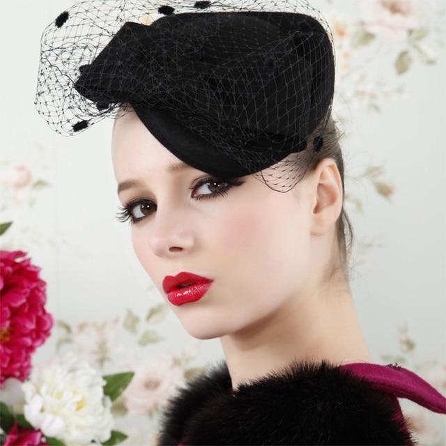 Funny Hat Caps Beanies Skullies Fedoras Berets Dress: Women Dress Fascinators Winter Beret Bow Veil Wool Hats