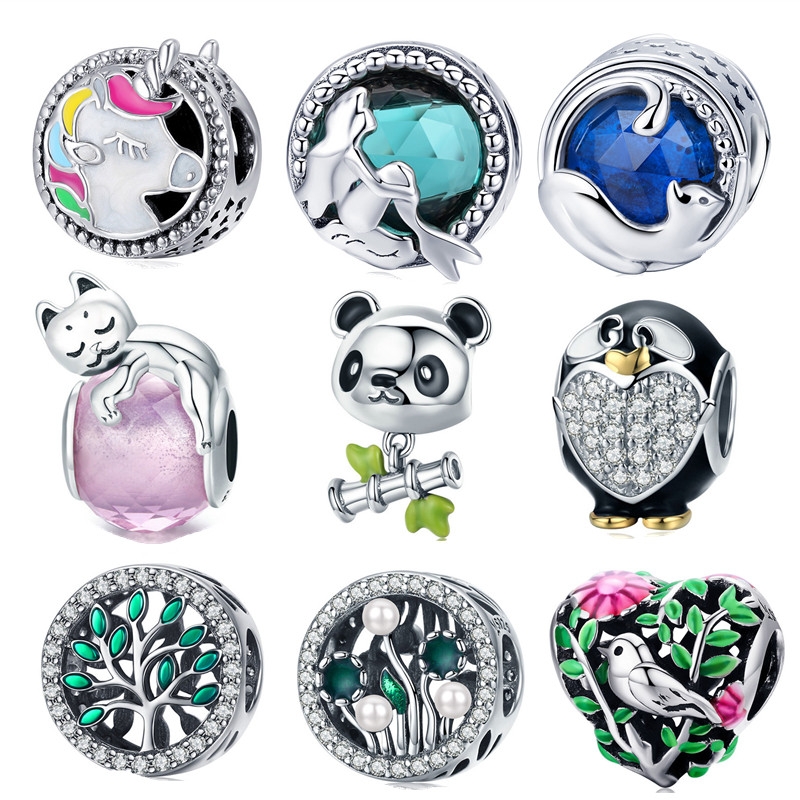 Fit Pandora Bracelet 925 Sterling Silver Unicorn Panda Cat Mermaid Charms Family Tree Bird Penguin Beads Fashion Diy Jewelry Cheap Sales 50% Beads & Jewelry Making