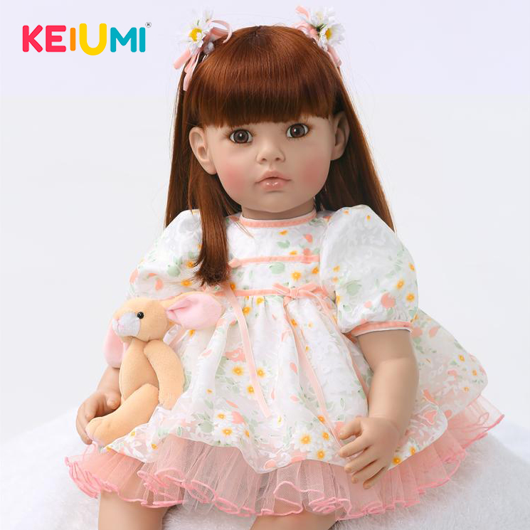 Collectible Soft Silicone 24'' 60 cm Reborn Dolls Lifelike Princess Girl Newborn Baby Doll Kid Christmas Birthday Gifts Playmate wd5000azlx