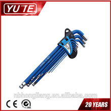 Wholesale Yute 6sets/lot 9pcs Extra Long Arm Allen Hex Key Wrench Set Ball Point Ended with color coating