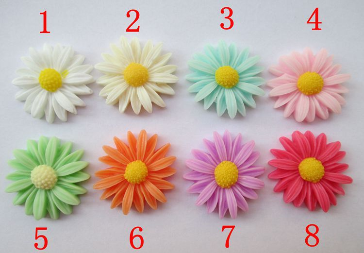 8 color optional 50pcs/set 26mm Daisy Flower Resin Flatback Cabochon Scrapbook DIY Phone Shell /Hair Decoration 009005074