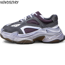 NEWDISCVRY Genuine Leather Retro Dirty Men Chunky Sneakers 2019 Spring Fashion Vintage Platform Mens Trainers Thick Sole Shoes