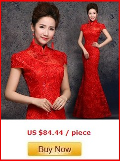 red lace Stand collar sequins cheongsam evening gown fishtail chinese formal dresses chinese style cheongsam evening gown (1)