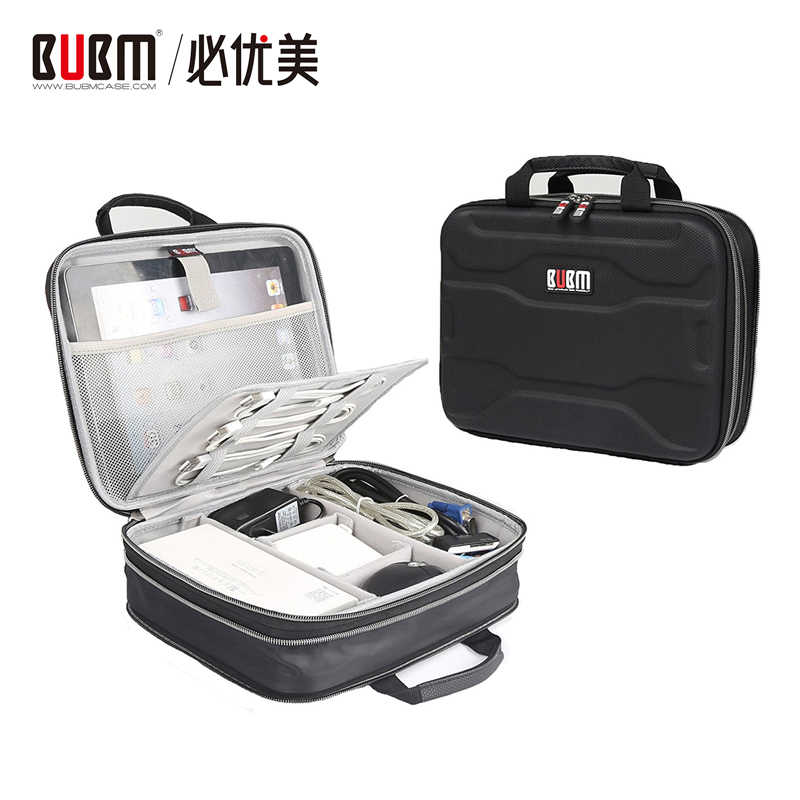 BUBM Electronic Organizer, Travel Cable Gadget Hard Case for Cables, USB Drives, Power Bank and More, Fit for iPad Mini / Pro