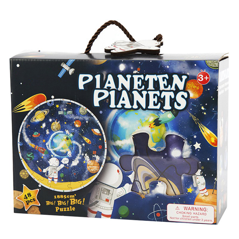 Wooden Jigsaw Puzzles space background circular Planets Learning Toy Educational Children Gifts