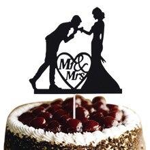 Black Cake Flags Mr & Mrs Wedding Topper Bride Groom Love Heart Engagement Party Baking Decor