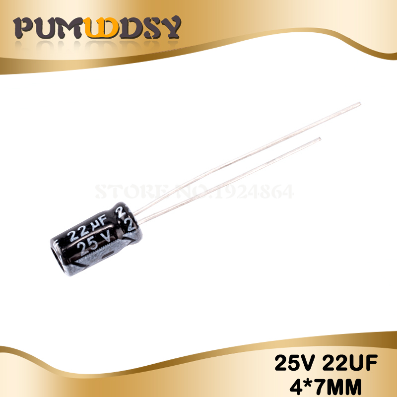 50PCS Higt Quality 25V22UF 4*7mm 22UF 25V 4*7 Electrolytic Capacitor