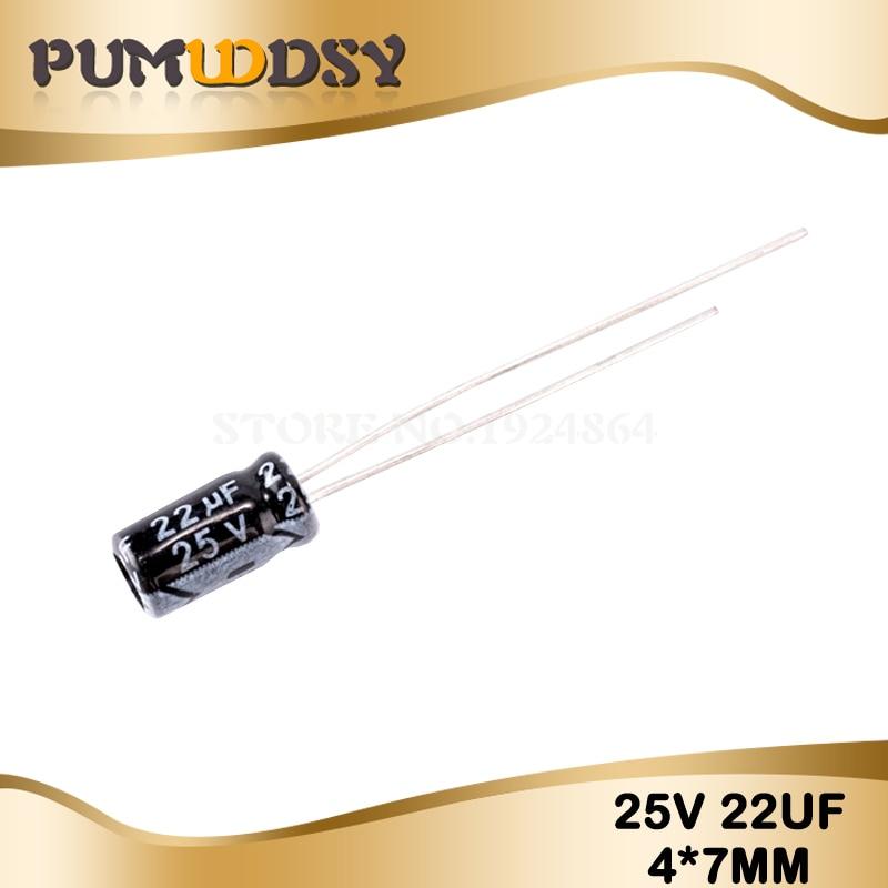 50PCS Higt Quality 25V22UF 4*7mm 22UF 25V 4*7 Electrolytic Capacitor