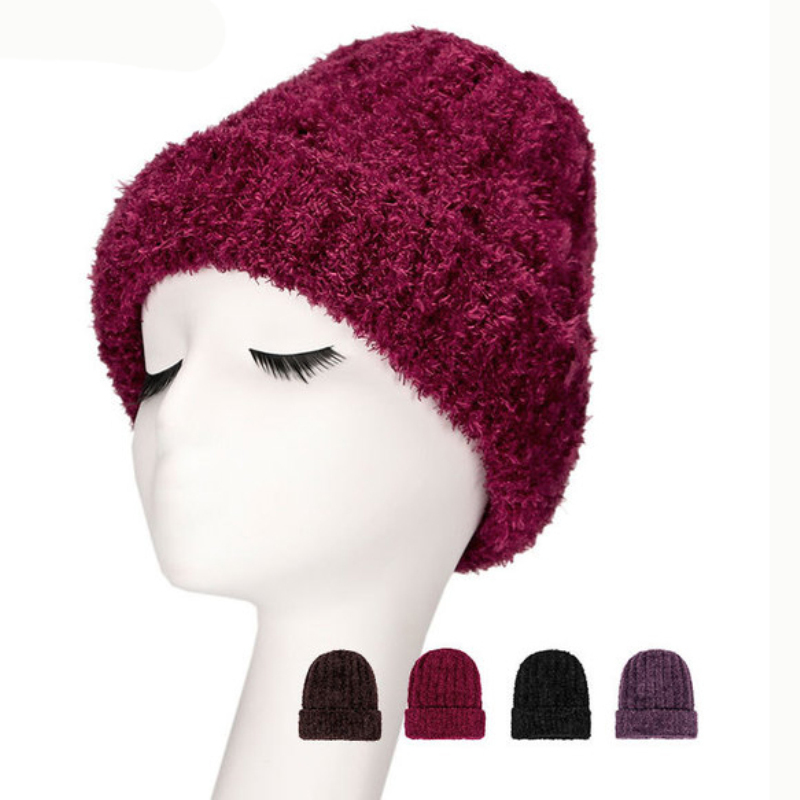 HT2156 Women Winter Hat Solid Plain   Skullies     Beanies   Female Thick Warm Knitted Hat for Mother Grandmother Elder Women   Beanie   Hat