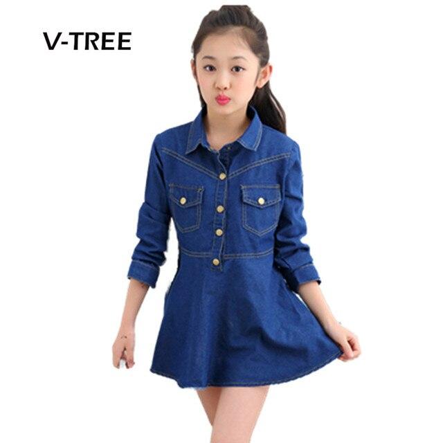 V-TREE New Girls Dress Denim Full Sleeve Dress For Girl Teenage School Girls Clothes Kids Childrens Dress Uniform 3-12 Years
