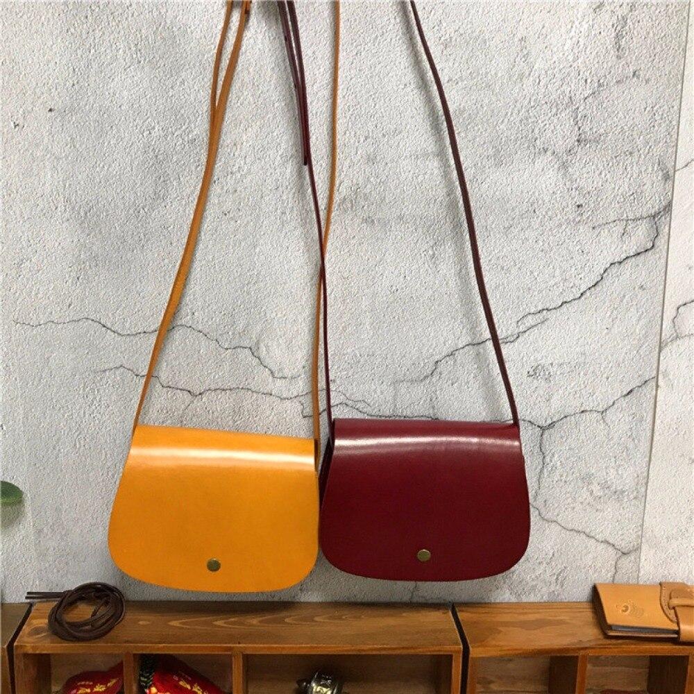 Vintage Retro Designer véritable cuir de vache filles petit Mini sac solide sac de selle femmes jaune croix sac à bandoulière sac à bandoulière