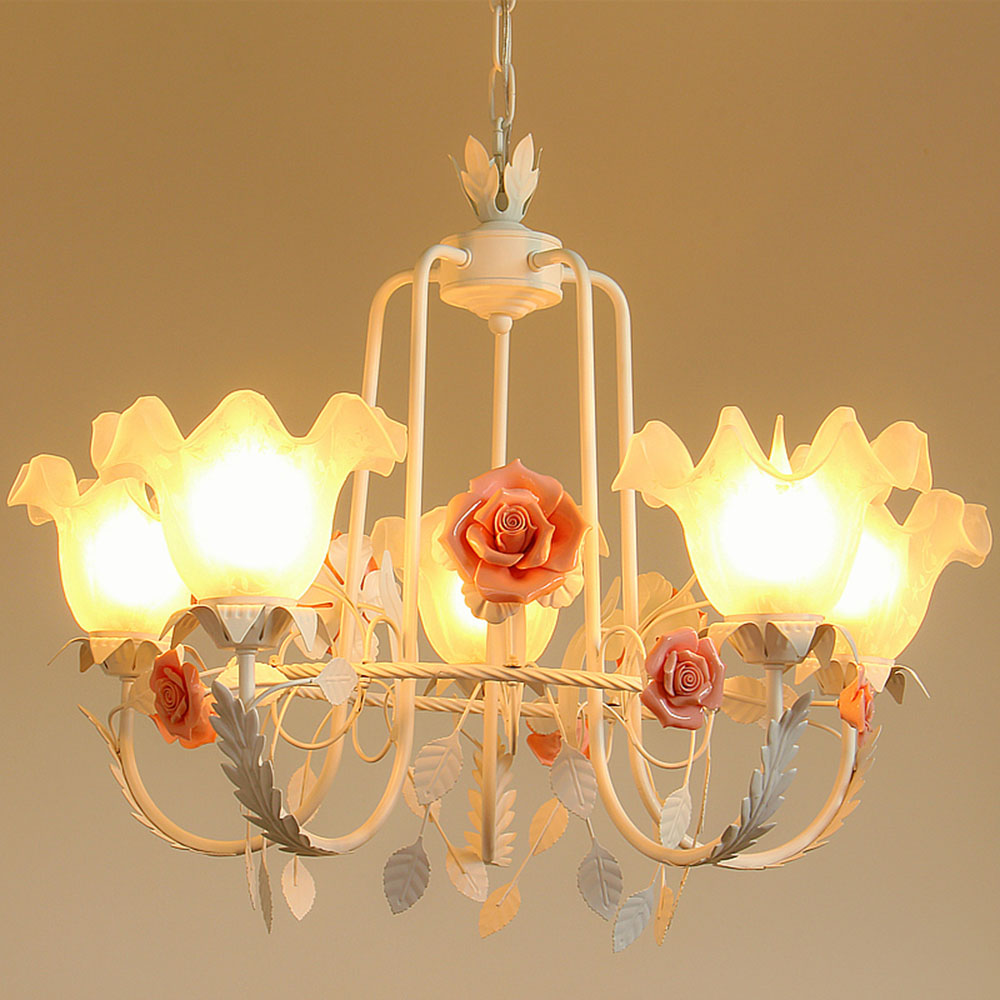 Loft Style Chandelier Led Pink Wrought Iron Chandeliers 110-220v Chinese Pink Garden Flower Light Luminaria
