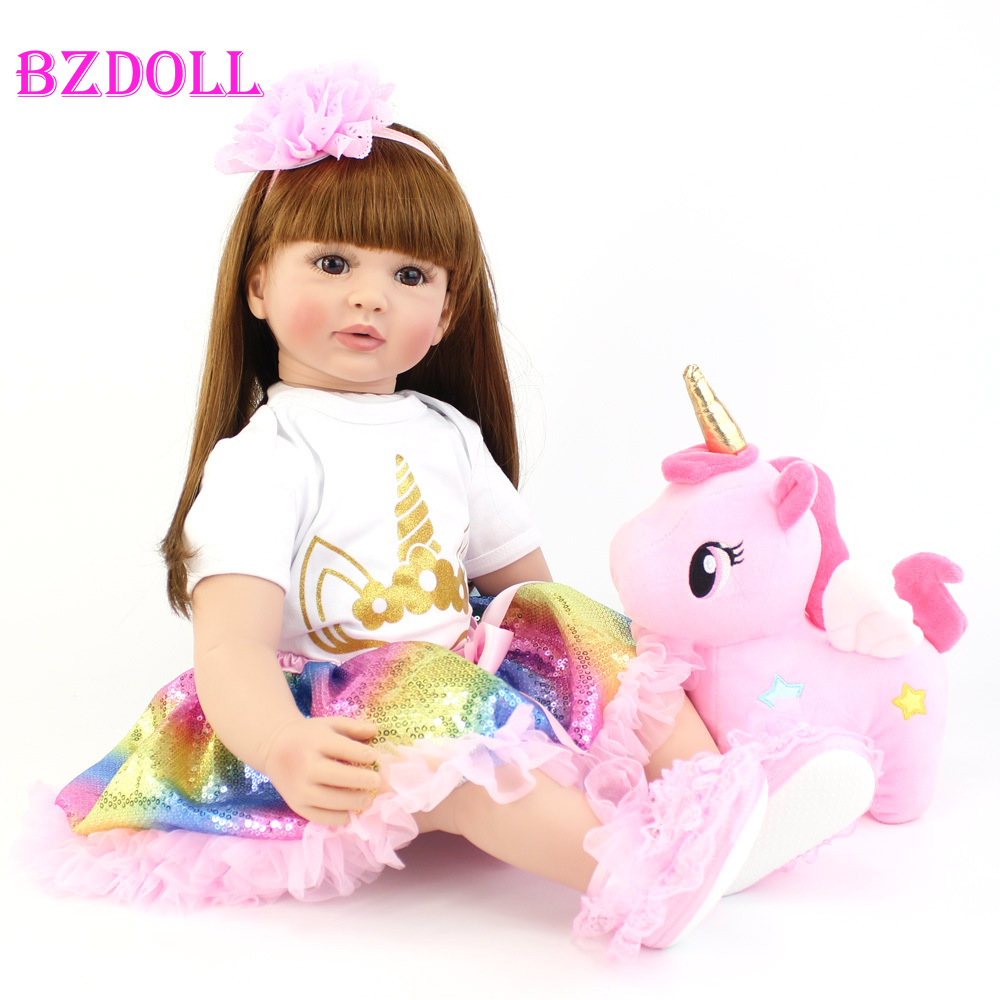 60cm Big Size Reborn Toddler Doll Toy Lifelike Vinyl Princess Baby With Unicorn Cloth Body Alive Bebe Girl Birthday Gift