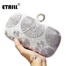 ETAILL роскошные серебряные женские клатчи кольцо на палец дамские винтажные вечерние сумки хрустальные свадебные сумочки кошелек сумки держатель