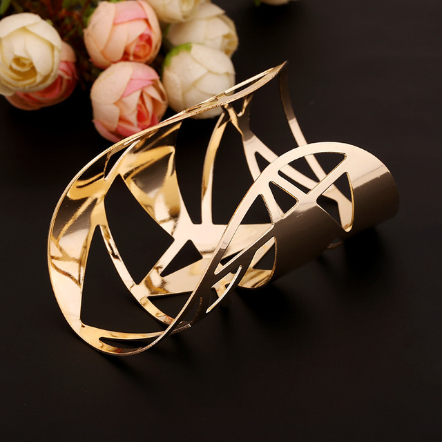 Fashion Simple Gold Open Cuff Bangles