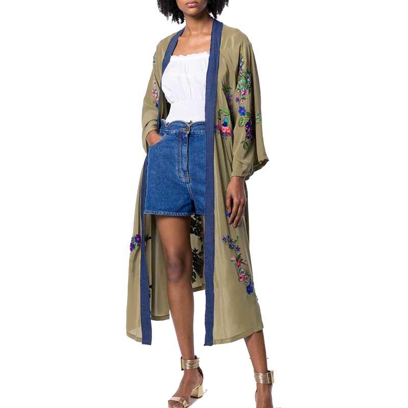 Kimono caftan brodé ouvert devant cravate taille Trench femmes plage Top contraste reliure été Long Trench manteaux Outwear
