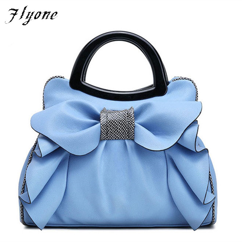 Flyone Handbags Fashion Brand Top-Handle Bags Women Girls Leather bags Bow Luxury Women Tote Bag Bow Ladies Hand Bag fashion girls pet hand bag brooch set