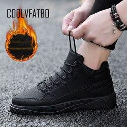 COOLVFATBO Men vulcanize Shoes Winter Flat Shoes Warm Plush Comfortable Men Sneakers Suede Lace-Up Male Footwear