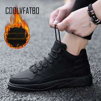 COOLVFATBO Men vulcanize Shoes Winter Flat Shoes Warm Plush Comfortable Men Sneakers Suede Lace Up Male Footwear