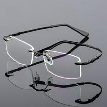 f86914ad98 HD.space memory titanium glasses frame Flexible Memory Metal Rimless  Eyeglasses Frame for oculos de