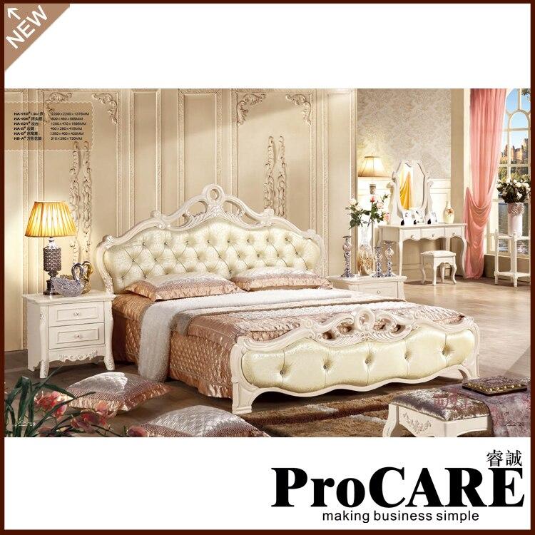 2016 New Antique Design Oak Solid Wood Bedroom Furniture King Size 1 8m Bed