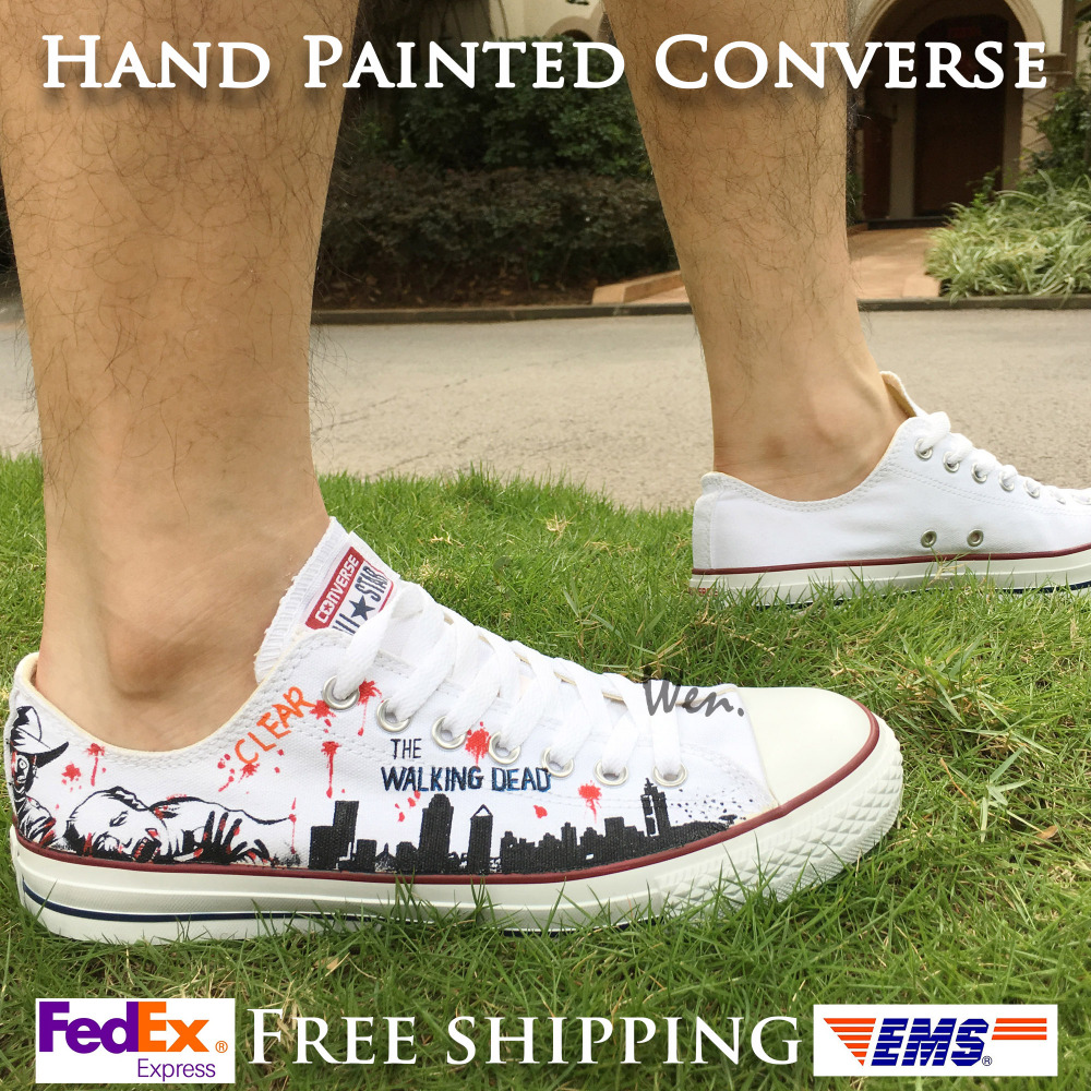 Walking dead converse shoes for sale - Aliexpress Com Buy 2017 Low Top Converse All Star Men Women S Shoes Custom Design Walking Dead Hand Painted Canvas Sneakers Skateboarding Shoes From