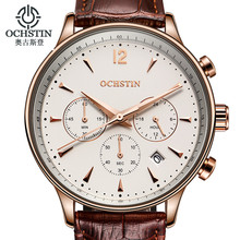 2016 OCHSTIN Men Sport Top Brand Luxury Leather Quartz Watch Men's Fashion Casual Big Dial Date Wristwatch reloj hombre