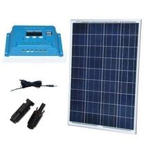 Solar Kit Solar Panel 12v 100W Solar Charger Controller Regualtor 10A 12V/24V PV Cable Caravan Camping Home Solar System  цена в Москве и Питере