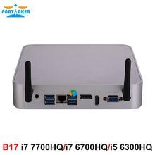 Partaker Intel Core I7 7700HQ I7 6700HQ I5 6300HQ Mini PC Windows 10 Barebone Máy Tính DDR4 RAM 32GB 512GB SSD 4K HTPC HDMI Dp