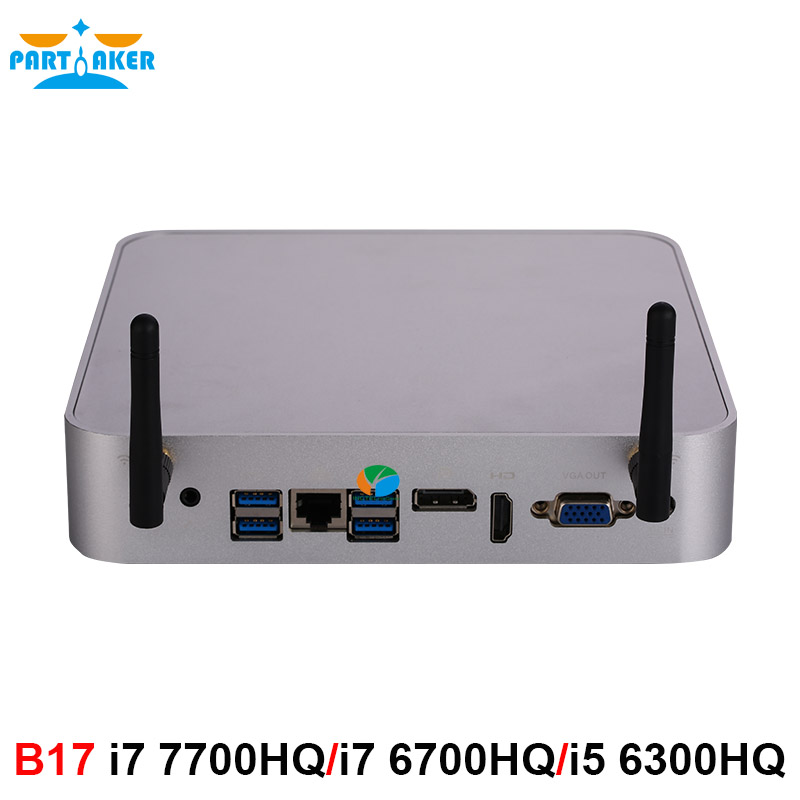 Partaker Intel Core I7 7700HQ I7 6700HQ I5 6300HQ Mini PC Windows 10 Barebone Computer DDR4 32GB RAM 512GB SSD 4K HTPC HDMI DP