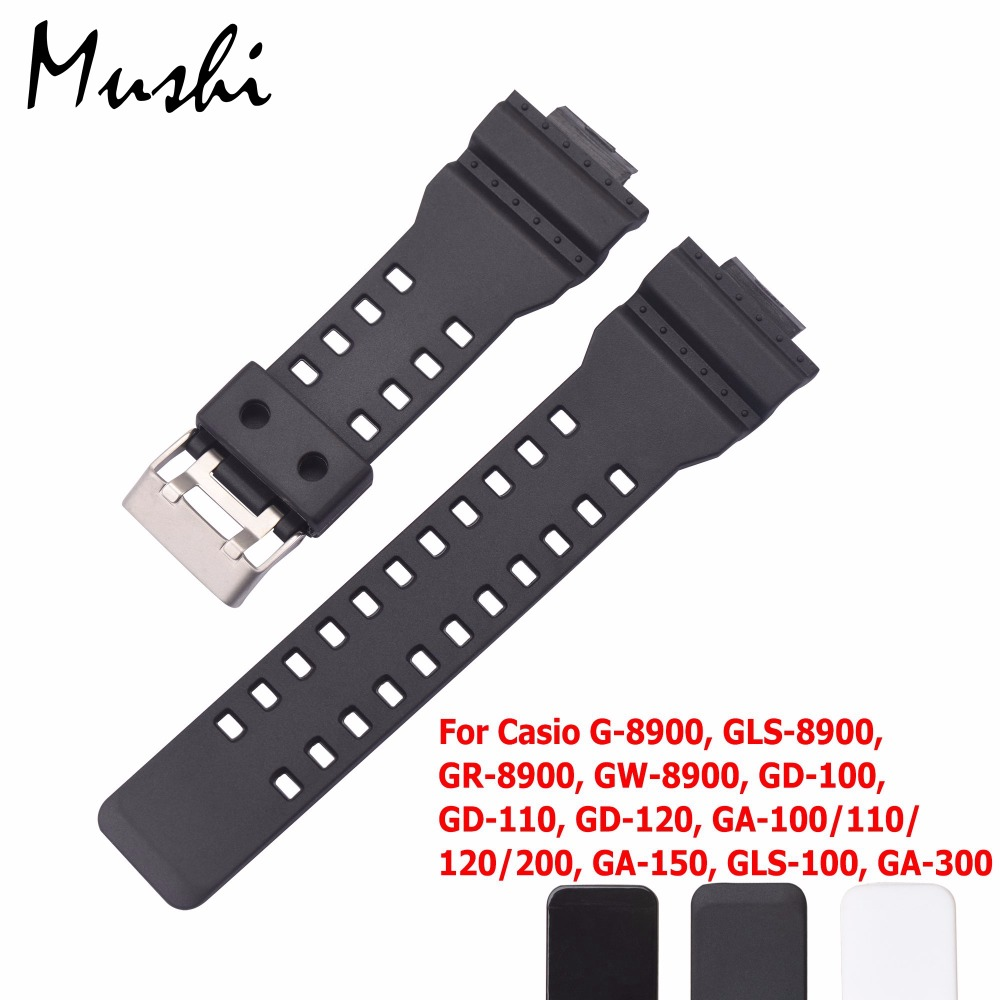 16mm Rubber Watchbands Men Black Sport Diving Silicone Watch Strap Band Metal Buckle For g-shock Watch Accessories t rrce expert black silicone rubber strap t048 watch band for t048417a 21mm