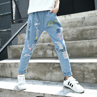 Kid Summer Girls Jeans 4 12Y New 2017 Autumn Big Girls Denim Pants Elastic Waist Baby Kids Jeans Children Trousers Fall Cowboy