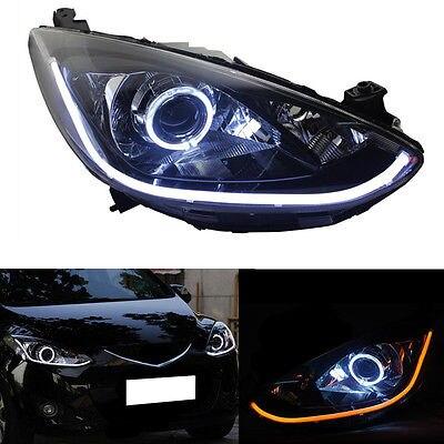 HID Headlight For Mazda 2 2011-2014 With LED Light Bar And White Angel Eyes HALO улица чехова господствующая высота