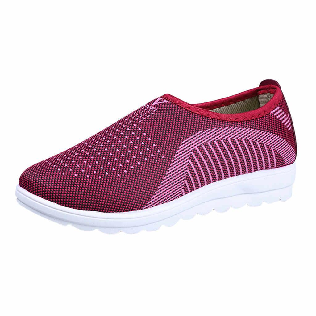 Fabriek Directe Verkoop Schoenen Vrouw Zomer Mesh Platte Met Katoen Casual Wandelschoenen Streep Sneakers Loafers Soft Running Veters