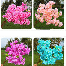 Fake Cherry Blossom Flower Branch Begonia Sakura Tree Stem Beauty with Green Leaf 100cm Long 6 Colors available