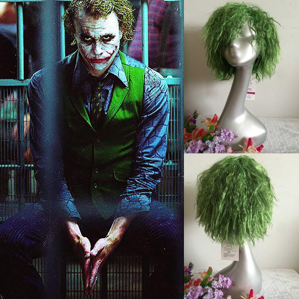 Batman The Dark Knight Joker Cosplay Short Green Wave Hair Seaweed Hair Headwear Injusti ...