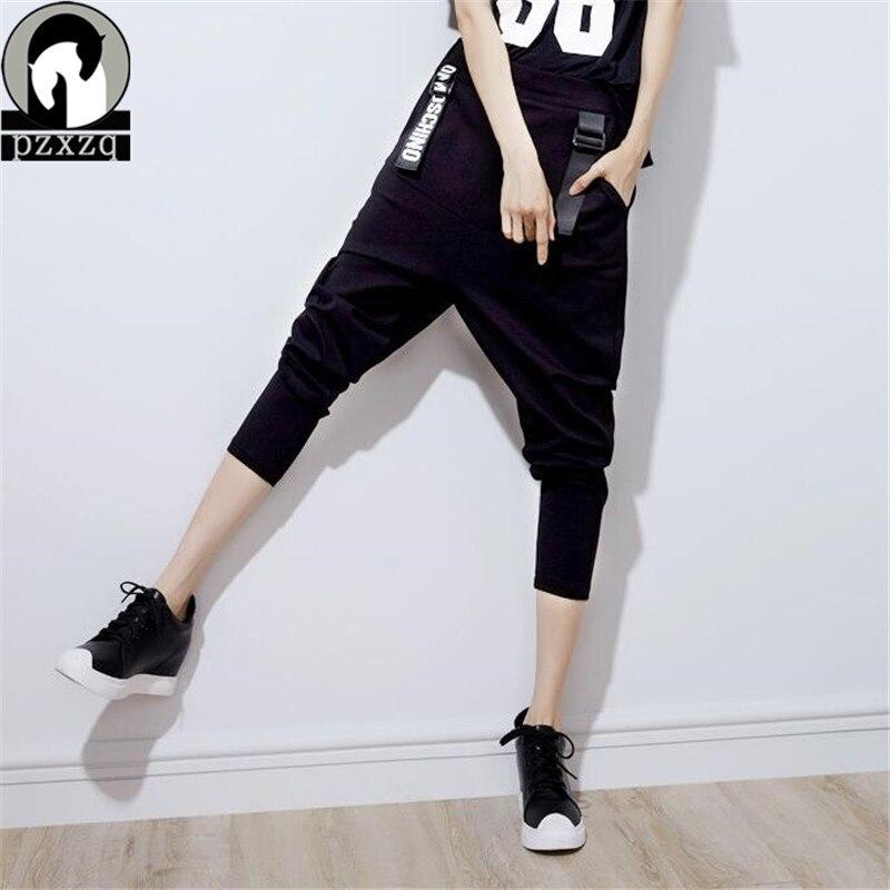 2016 נשים ניו סתיו נשי רגל רחבה למתוח שחור הדפסת מכתב מכנסיים הדוקים בגדים אלסטיים גרביונים רופפים