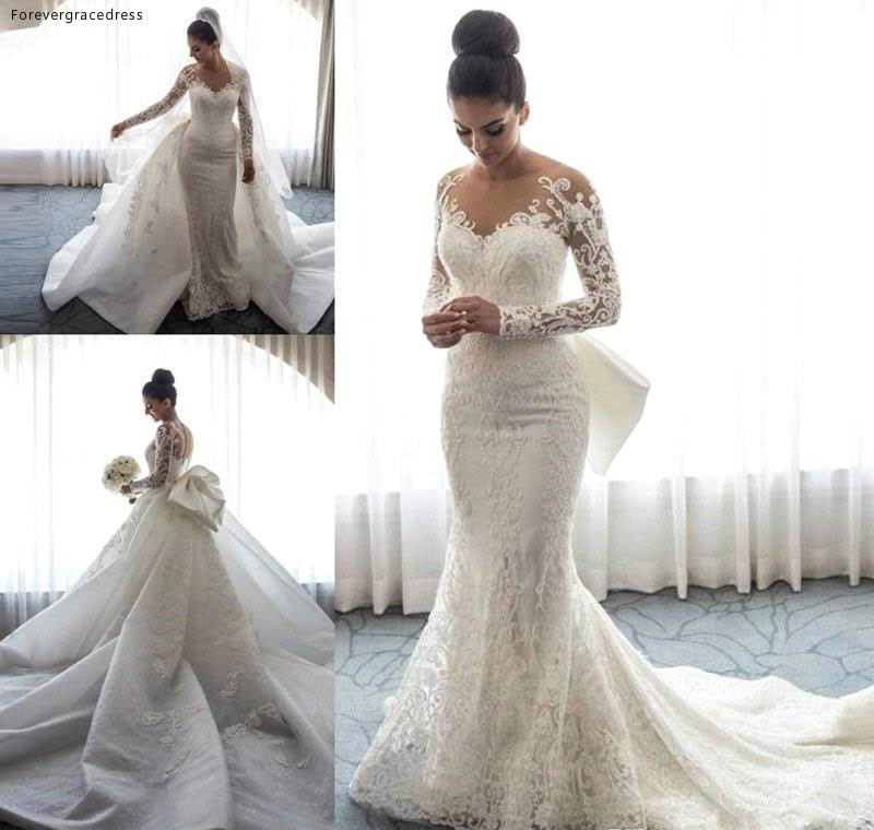 Mermaid Long Sleeve Wedding Dress Lace Appliques Garden Country Church Bride Bridal Gown Custom Made Plus Size