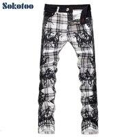 Men S Fashion Slim Fit Plaid Horse Print Jeans Male Elastic Thin Denim Pants Long Trousers