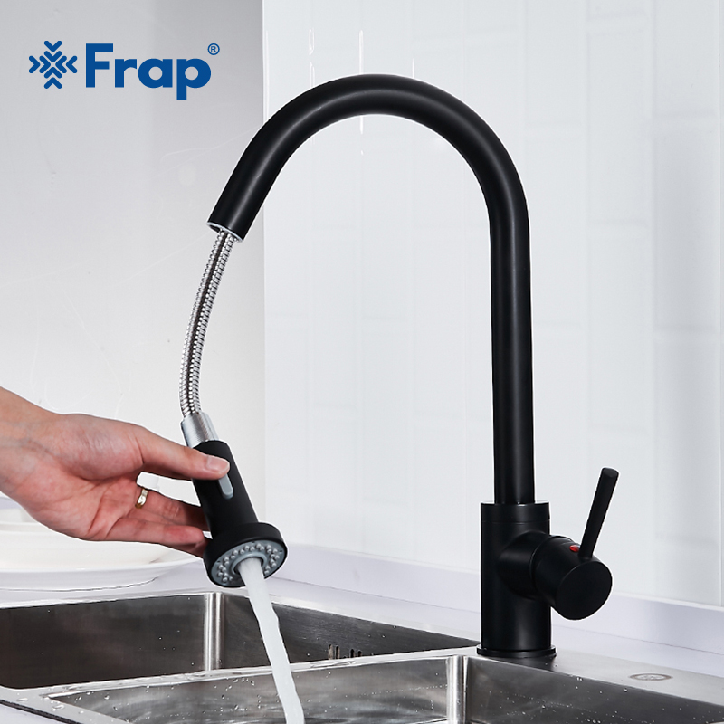 Frap Black Brushed Nickel Kitchen Faucet Single Handle 360 Degree Rotation Spout Pull Out Taps Two